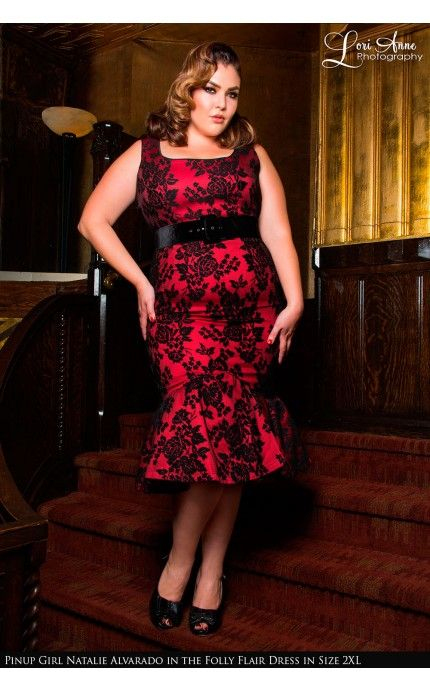 Deadly Dames Folly Flair Mermaid Dress In Red With Black Rose Lace