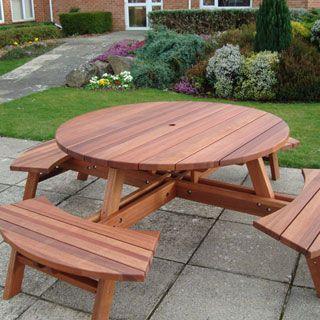 Lovely Round Picnic Table Plan Design
