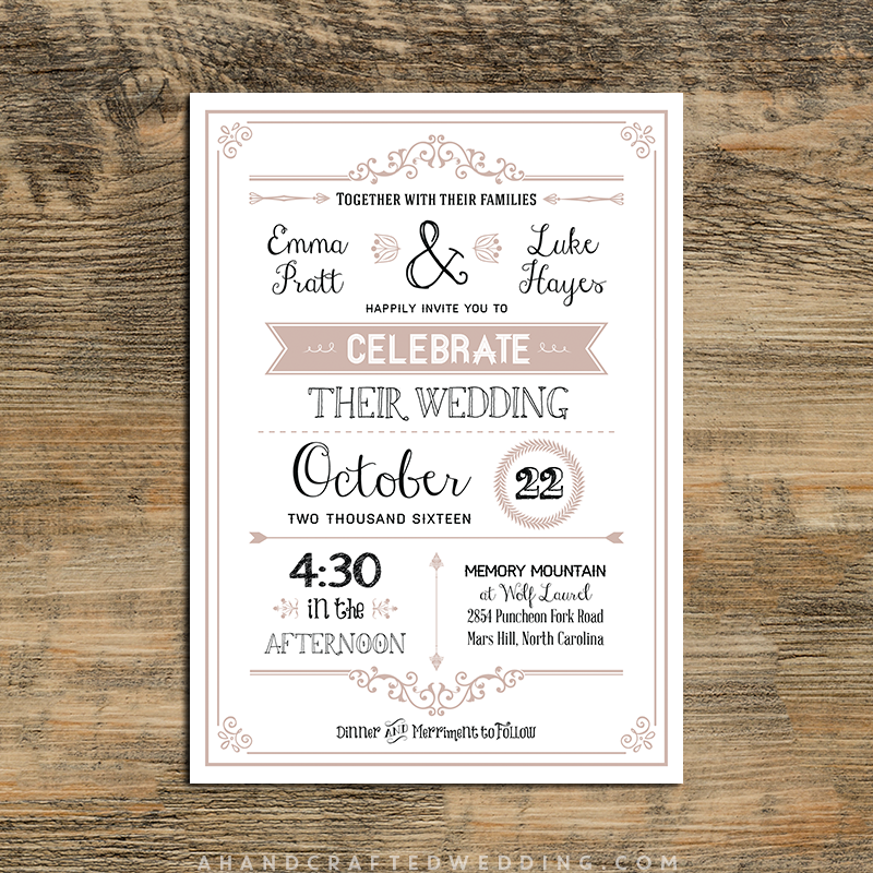 dusty-rose-printable-diy-wedding-invitation-template ...