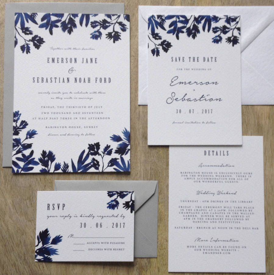 Indigo watercolour wedding invitation suite weddings invitation boutique wedding invitations with indigo watercolours and classic typographye samples invitation sample packs include invitation reply and detail filmwisefo