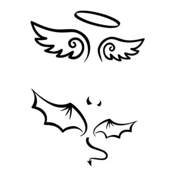Tatouage éphémère Ange Et Démon Tatouage Ange Aile D Ange Dessin Tatouage Ange Démon