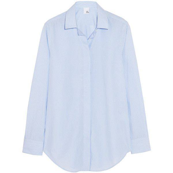 Iris and Ink Thea striped cotton-poplin shirt (€110) ❤ liked on Polyvore featuring tops, pitkähihat, shirts, blue, chemises, light blue, cut loose shirt, loose fit tops, blue stripe shirt and shirts & tops