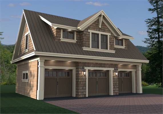 3 Car cottage garage house plan with living space