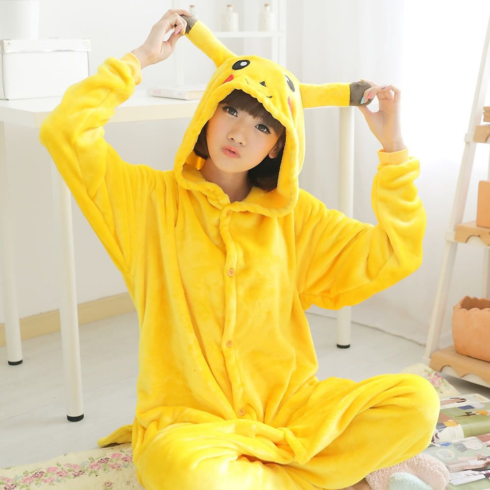 175332cf9a ... Animal Pajamas Dream Shu fun. Lovers  Flannel Anime Pokemon Pikachu Cosplay  Costume Onesies Nightgown For Woman and Man Autumn and Winter Lounge Cloth