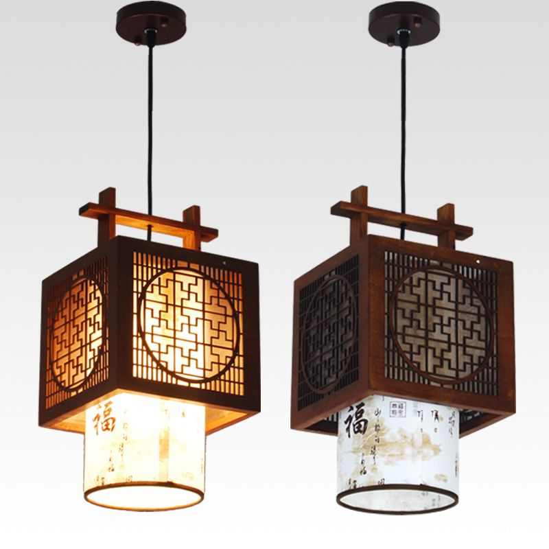 Chinese Style Vintage Wood Lantern Ceiling Pendent Lamp Restaurant Lightings Fixtures Teahouse