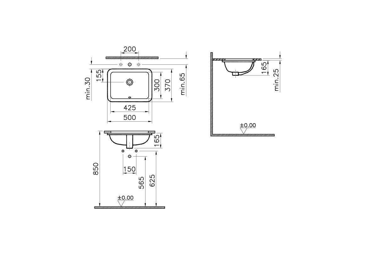 Under-Counter Basin, 50X36 cm, Square - VitrAThe actual ...