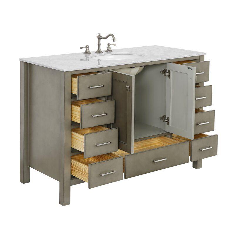 Cheshunt Full Cabinet 48 Single Bathroom Vanity Set Reviews Joss Main Single Bathroom Vanity Vanity Set Locker Storage Bathroom vanity and cabinet set