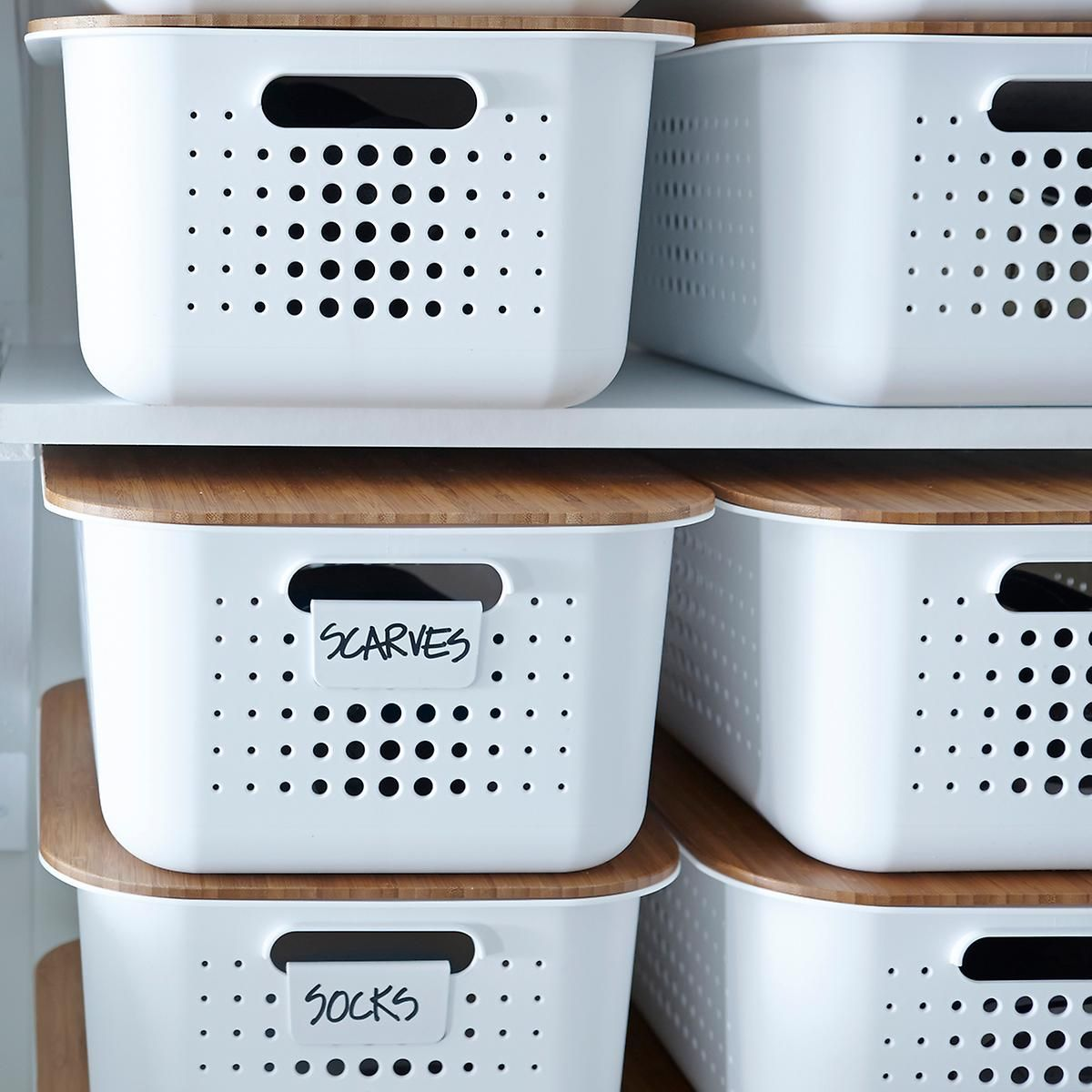 White nordic storage baskets with handles storage - Plastic bathroom storage containers ...