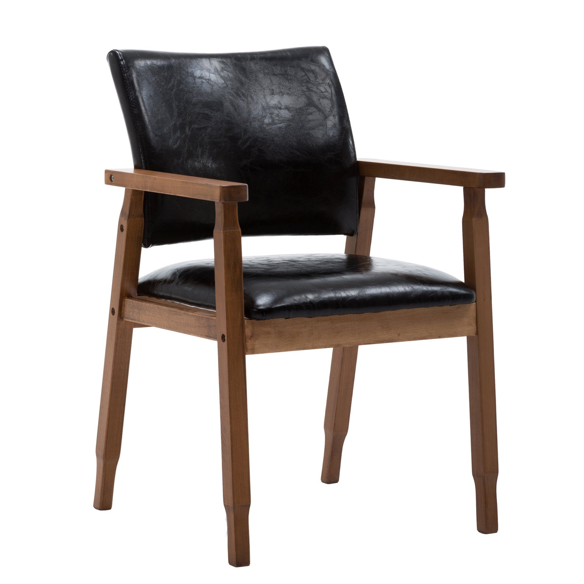 NOBPEINT MidCentury Dining Side Chair with Faux Leather