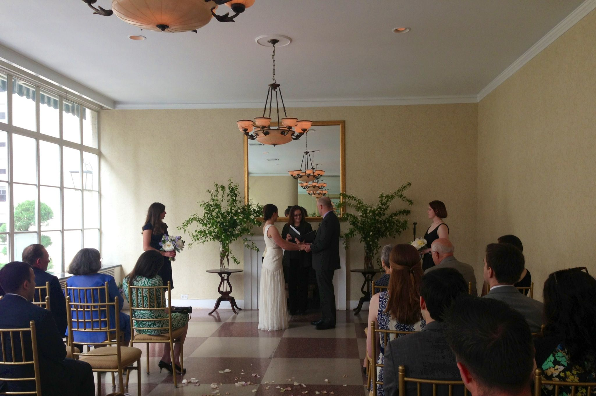 Small ceremony in the solarium at the 3 west club in nyc for Small wedding venue nyc