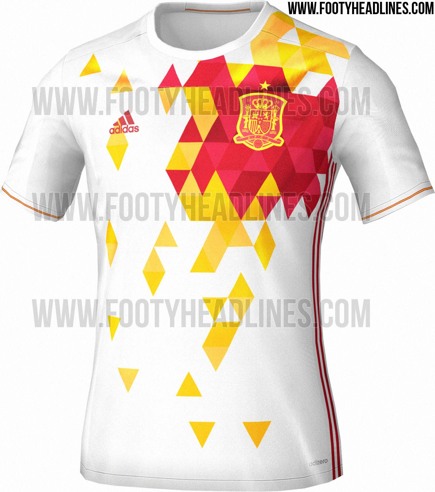 Made by Adidas, the new Spain Euro 2016 Away Kit boasts a vibrant front  pattern in red and yellow, inspired by the emotions of Spanish football.