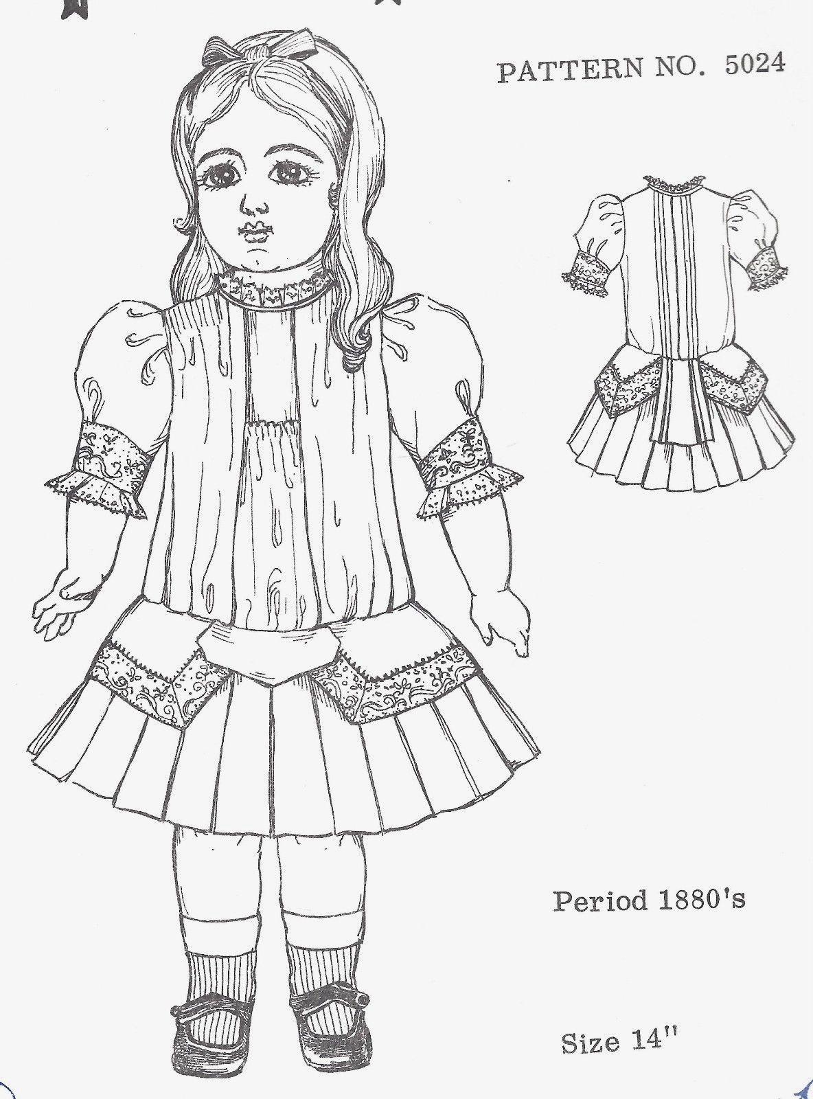 "1872 Enfantine Huret Style Scalloped Edges Dress 15/""-18/"" Doll Clothes Pattern"