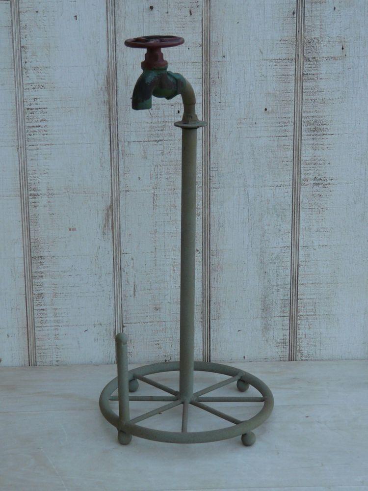 Primitive metal water faucet paper towel holder rustic country home ...