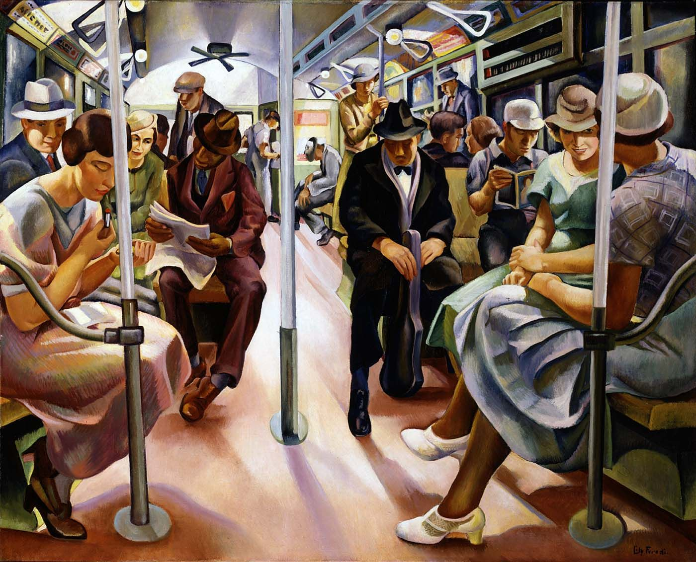 """Subway,"" Lily Furedi, 1934, oil on canvas, 39 x 48 1/4"", Smithsonian American Art Museum."