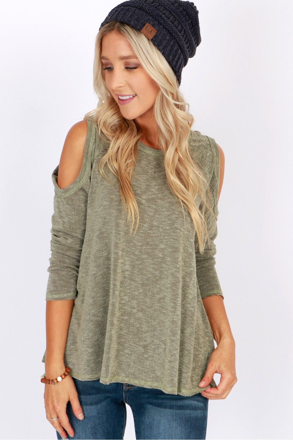 f290cd953bb5d3 Dare to Bare Cold Shoulder Top Olive