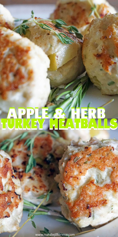 Gluten Free Apple Herb Turkey Meatballs. I love these gluten free apple herbturkey meatballs as a healthy meatball alternative. Click for full recipe!