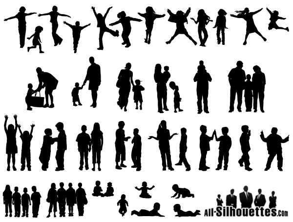 Free Vector Children Kids Teens Silhouettes Silhouette People Silhouette Vector Silhouette Architecture
