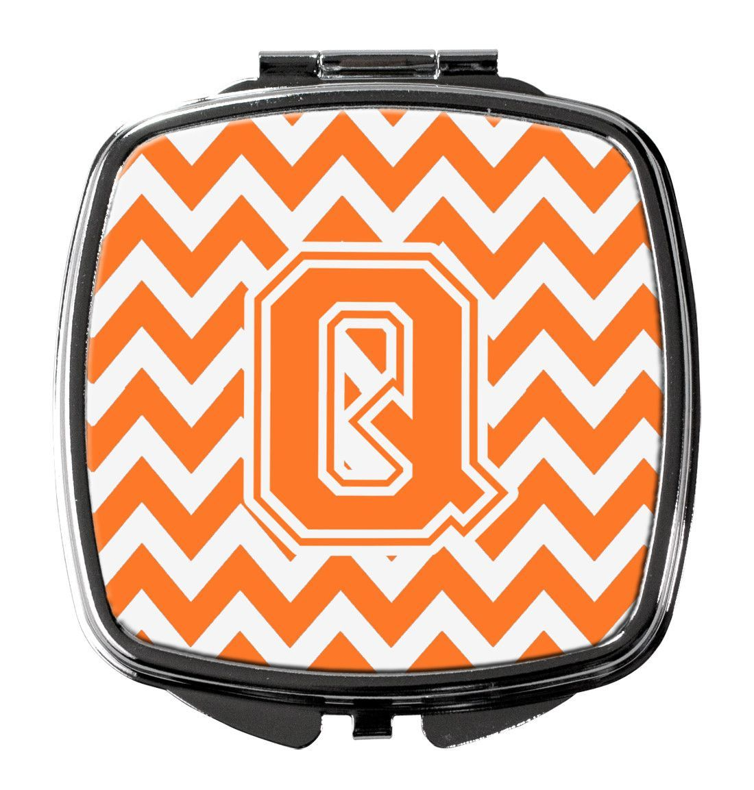 Letter Q Chevron Orange and White Compact Mirror CJ1046-QSCM