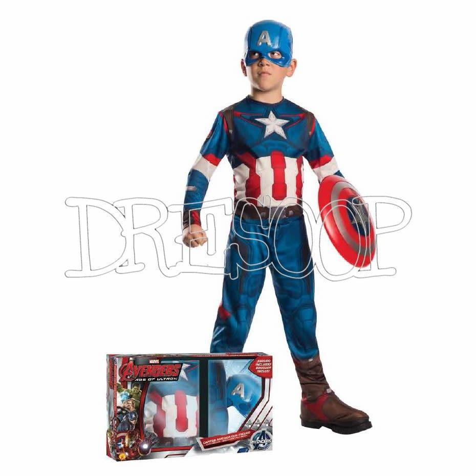 a3c7e07c730 Disfraz Capitán América Av2 con escudo en caja para niño - Dresoop ...