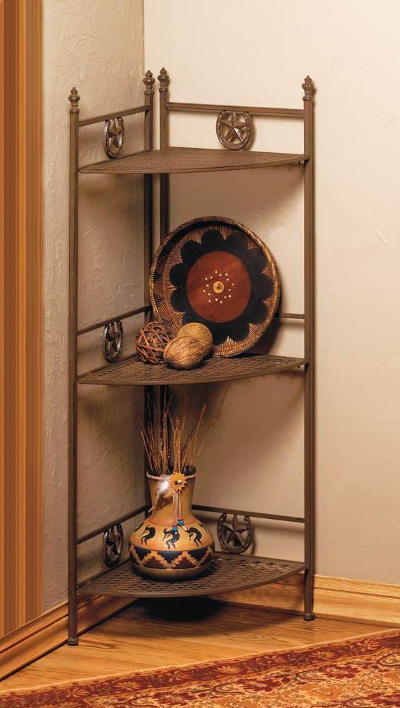 Corner Shelf Cast Iron Lucky Horseshoes