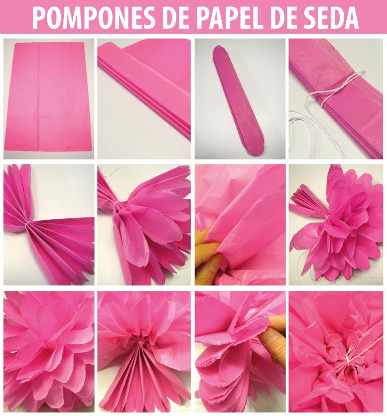 C mo hacer rosetas y pompones de papel de seda ideas - Como hacer pompones ...
