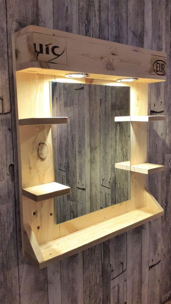 Spiegel mit Beleuchtung und Ablage - Badspiegel - Badezimmer - Mit - spiegel badezimmer mit beleuchtung