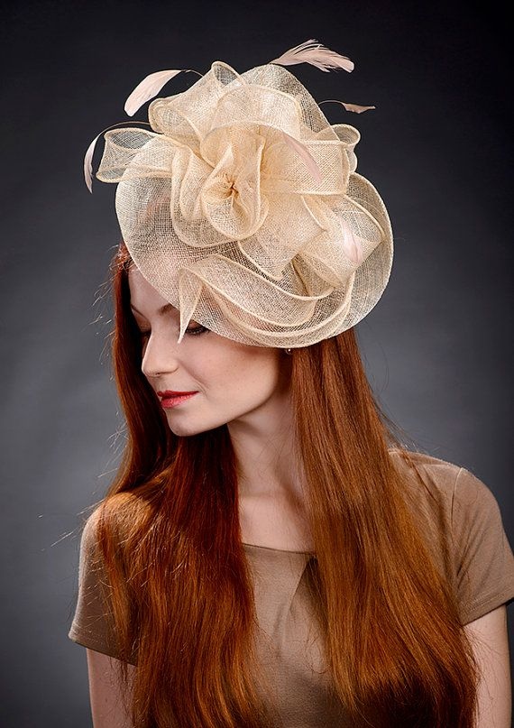 Champagne Beige Fascinator Hat for weddings Ascot by MargeIilane ... 412662cba6c