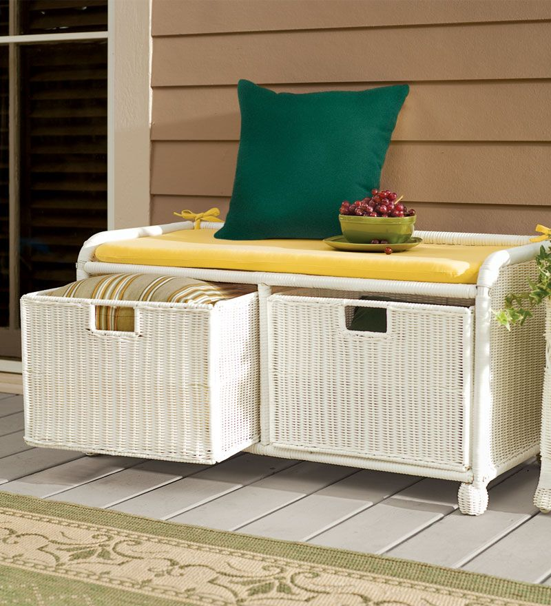 Easy Care Outdoor Resin Wicker Storage Bench