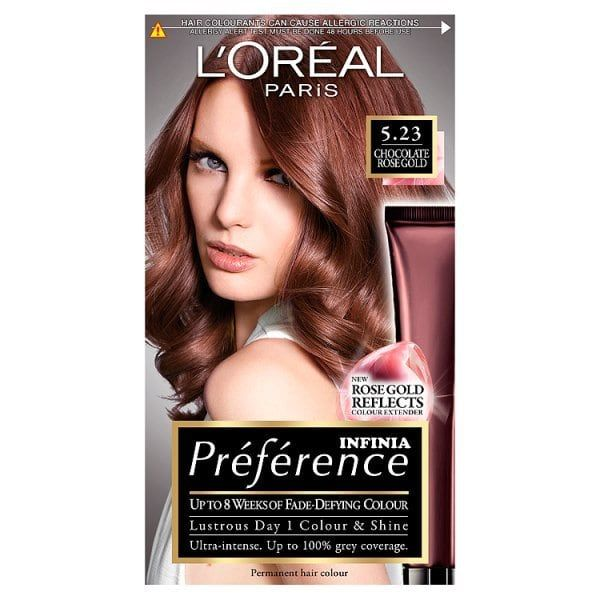 Preference 5 23 Choc Rose Gold Brown Permanent Hair Dye Rose Gold Hair Dye Hair Color Rose Gold Gold Brown Hair