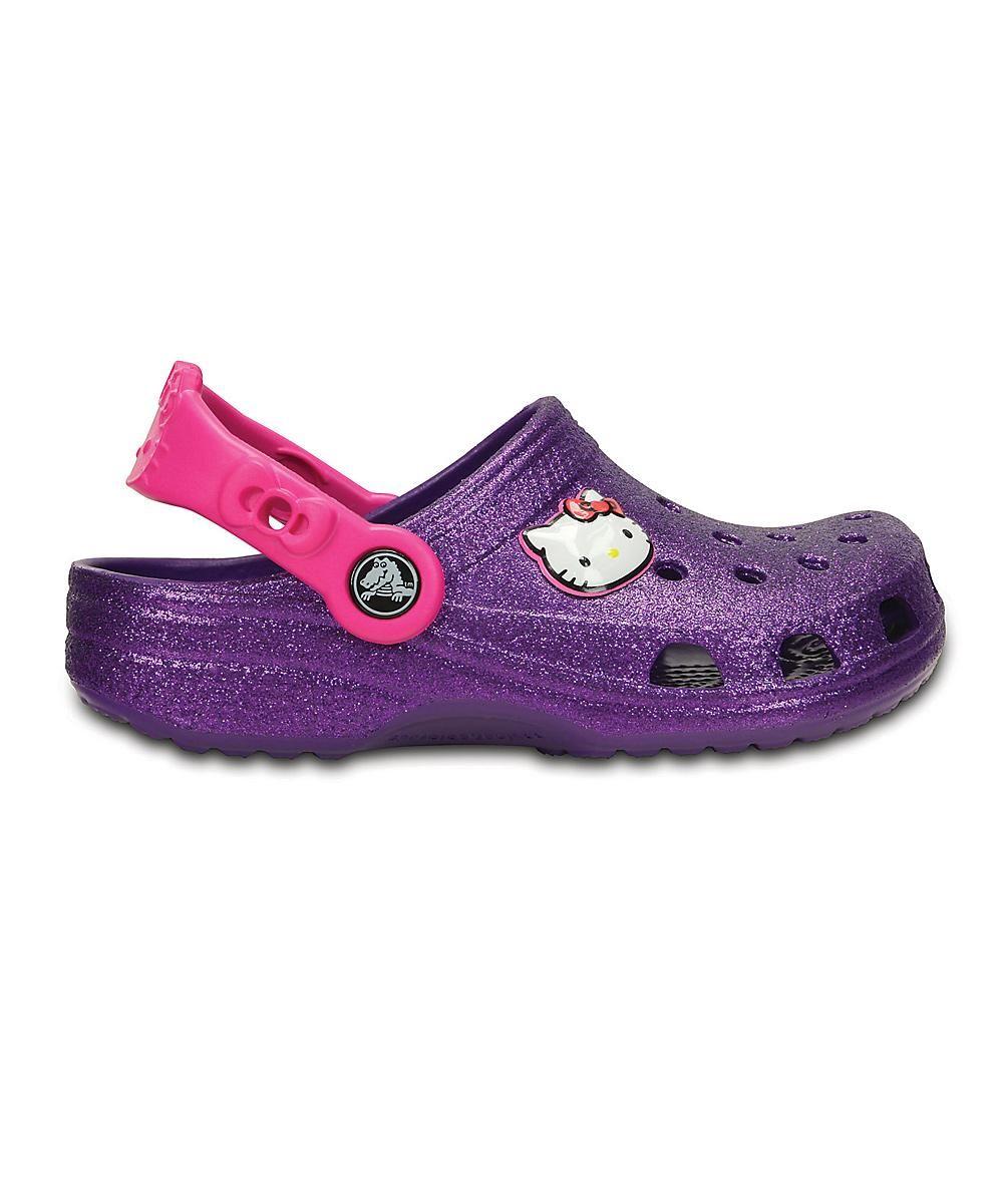 b49e9cd0d Crocs Neon Purple Hello Kitty Gliter Clog - Kids | kid style | Neon ...