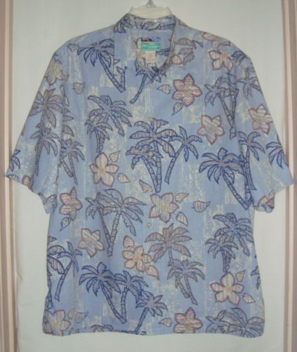 REYN-SPOONER-Lt-Blue-Hawaiian-Palm-Trees-Mens-Short-Sleeve-Aloha-Shirt-Size-XL