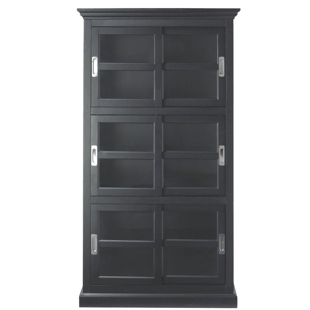 Home Decorators Collection Lexington Black Glass Door Bookcase