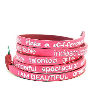 Take a look at this Neon Pink 'I Am Happy' Leather Wrap Bracelet by Good Work(s) Make A Difference on #zulily today!