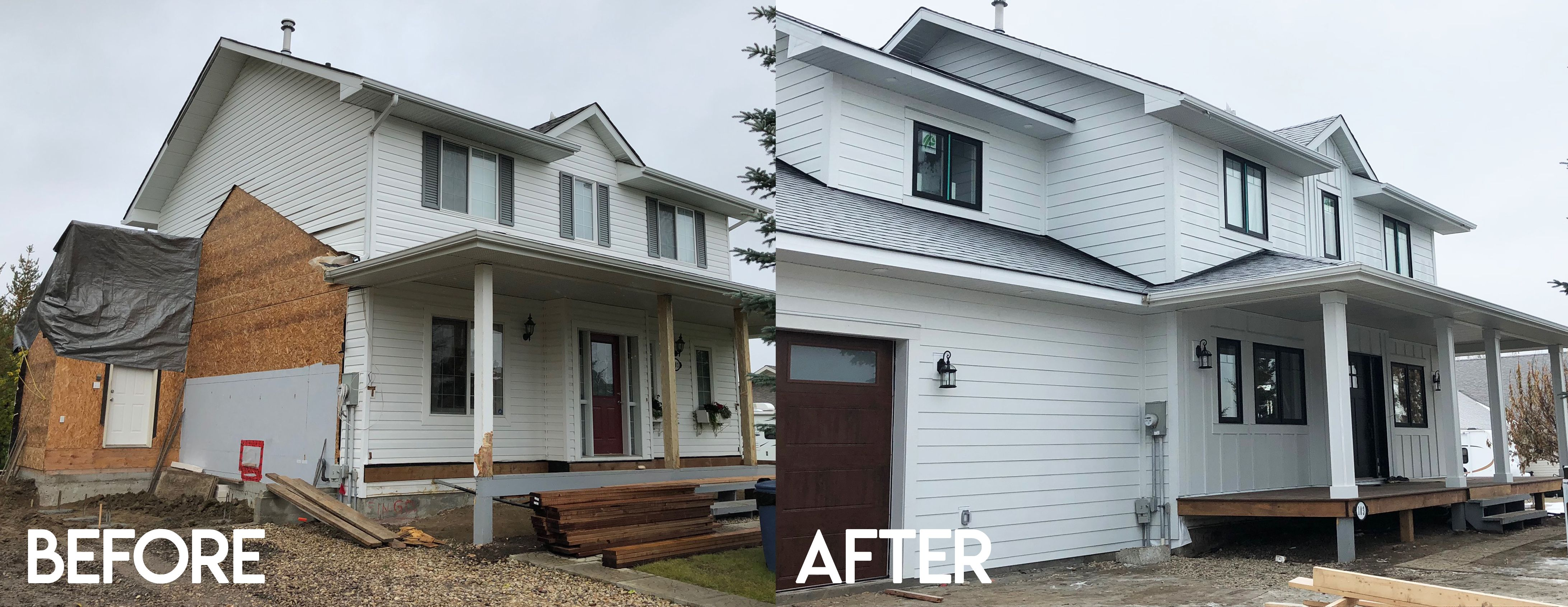 Replaced Existing Vinyl Siding And Installed Beautiful Arctic White Hardie Plank And Hardie Exterior Renovation Farmhouse Renovation Modern Farmhouse Exterior