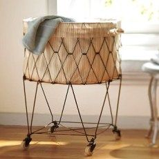 Vintage Laundry Basket That Collapses And Can Be Used As A Table
