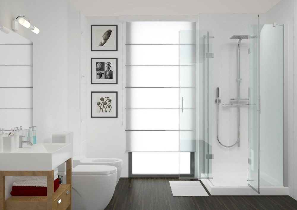 Aquabord 2 Wall Shower Panel Kit - White Gloss | Aquabord Laminate ...