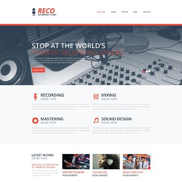 Recording Studio Responsive Website Template 뮤직 Pinterest - Photo studio website template