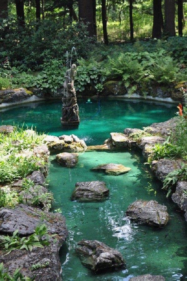 estanque con agua clara radiante y piedras grandes