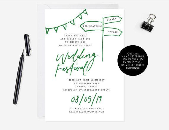 Wedding Festival Rustic Wedding Invitation Green Wedding
