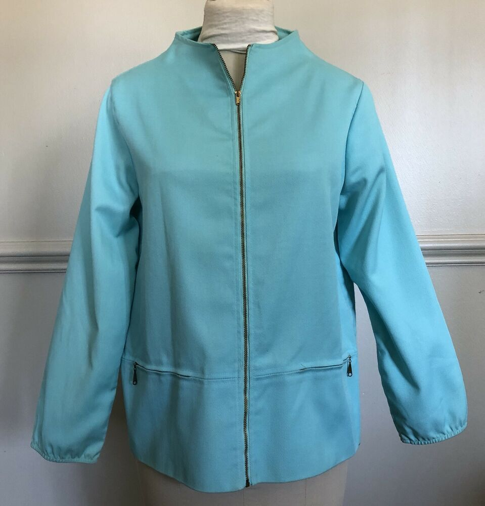 b12f2d1e7d34c Vintage 1960s Aqua Catalina Jacket End O' Press Zip Front 60s #Catalina # Jacket