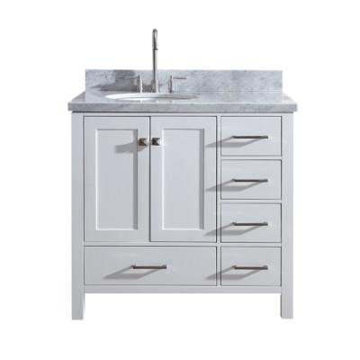 Provence 34 In W X 21 In D Bath Vanity In Cream With Marble Vanity Top In White With White Basin Mod081wp 34 The Home Depot Marble Vanity Tops Single Sink Vanity