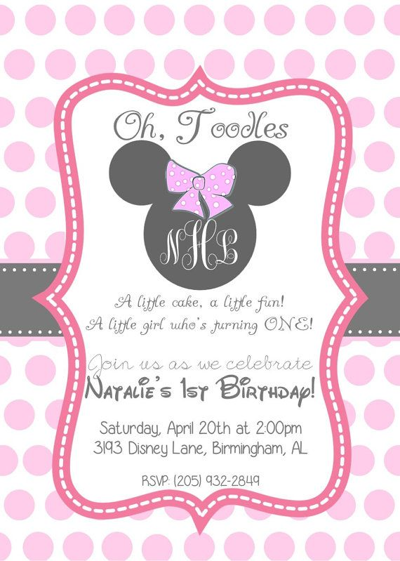Cool Minnie Mouse Birthday Invitations Etsy