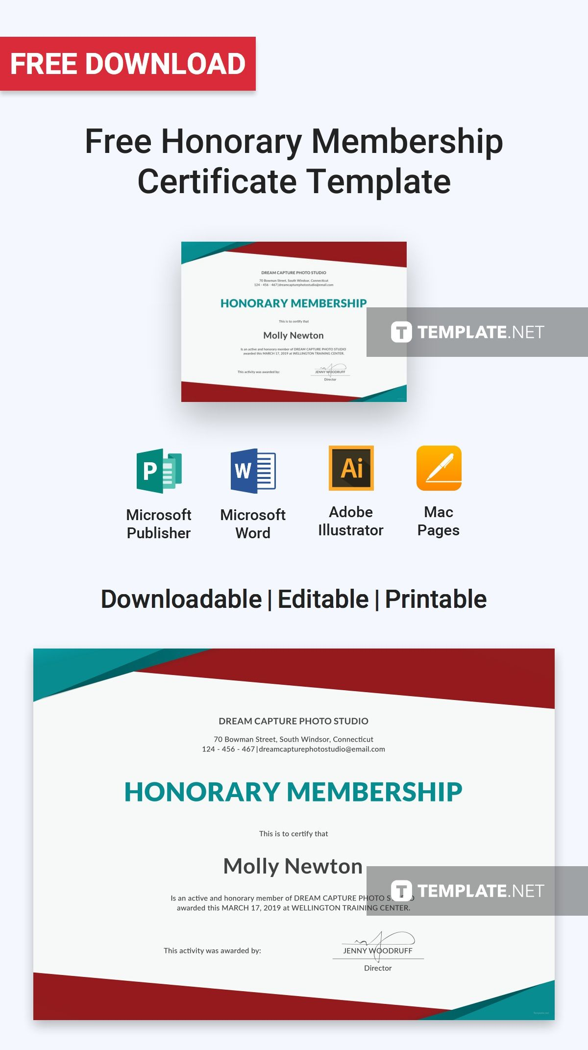 Free Honorary Membership Certificate Template Templates