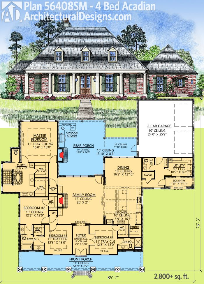 Plan 56408sm 4 bed acadian with generous outdoor living for 2 story acadian house plans