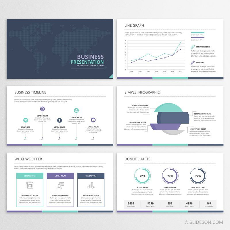 Business Powerpoint Presentation Template With Charts Timeline And