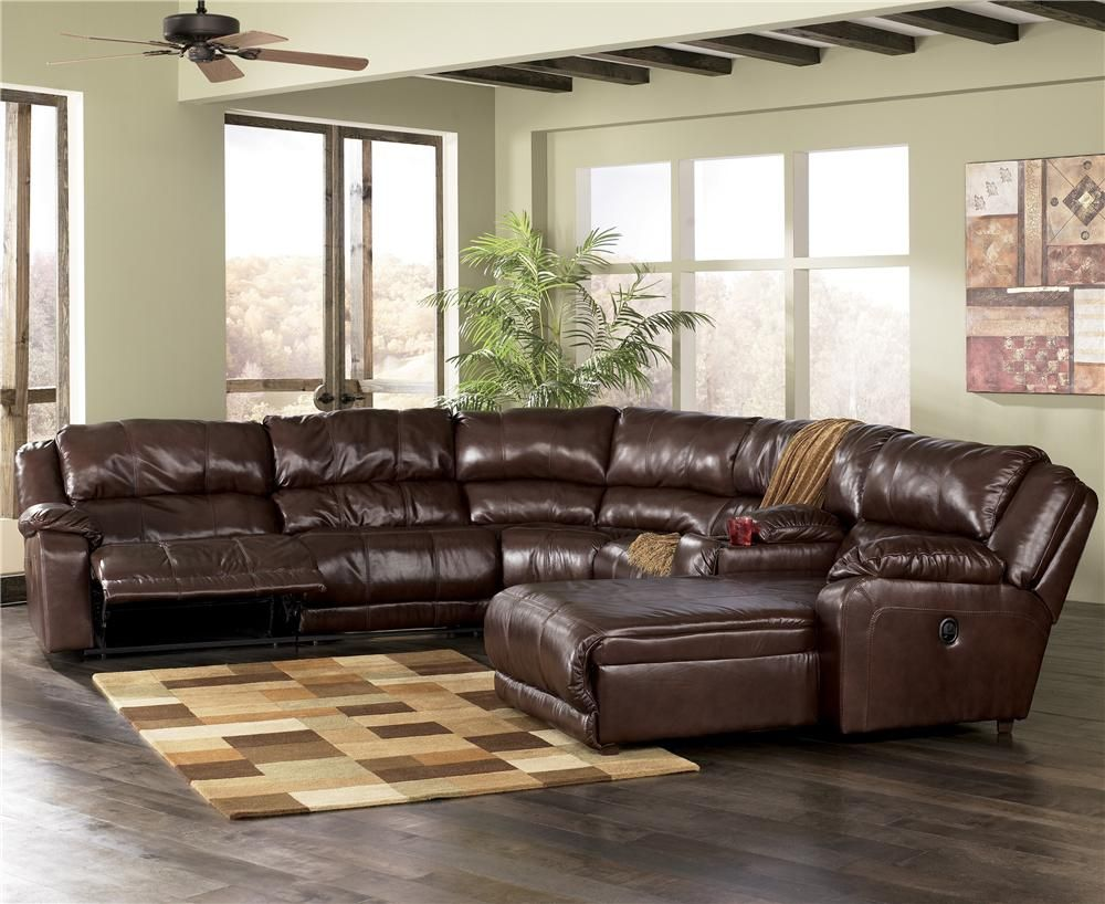Braxton java modular sectional with chaise by ashley - Ashley millennium living room furniture ...
