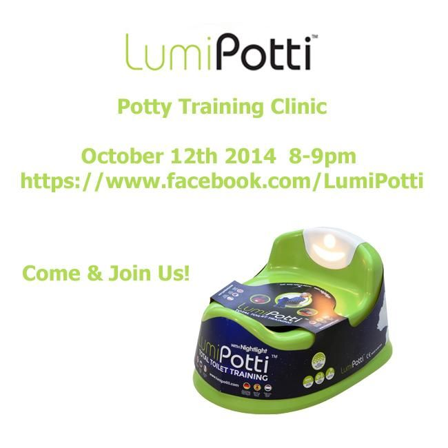 Come and join us for our next #pottytraining clinic on October 12th 2014 between 8 and 9pm http://www.lumipotti.com/october-2014-potty-training-clinic/