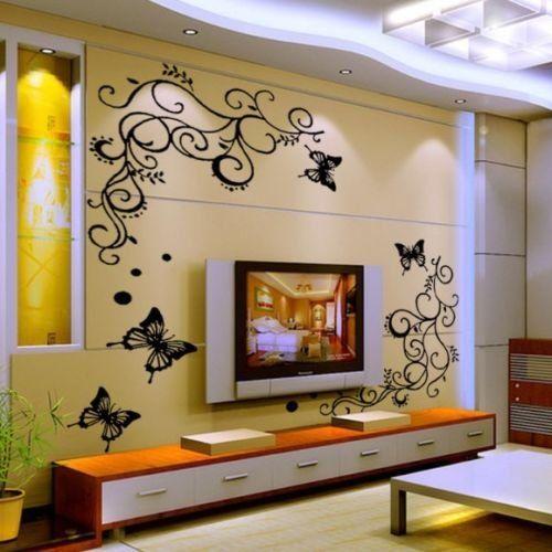 HALLOBO® XXL Wandtattoo Blumenranke Schmetterlinge Wandaufkleber - schlafzimmer deko bilder