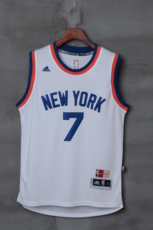 6803c034c New York Knicks Carmelo Anthony  7 Home White Swingman Jersey ...