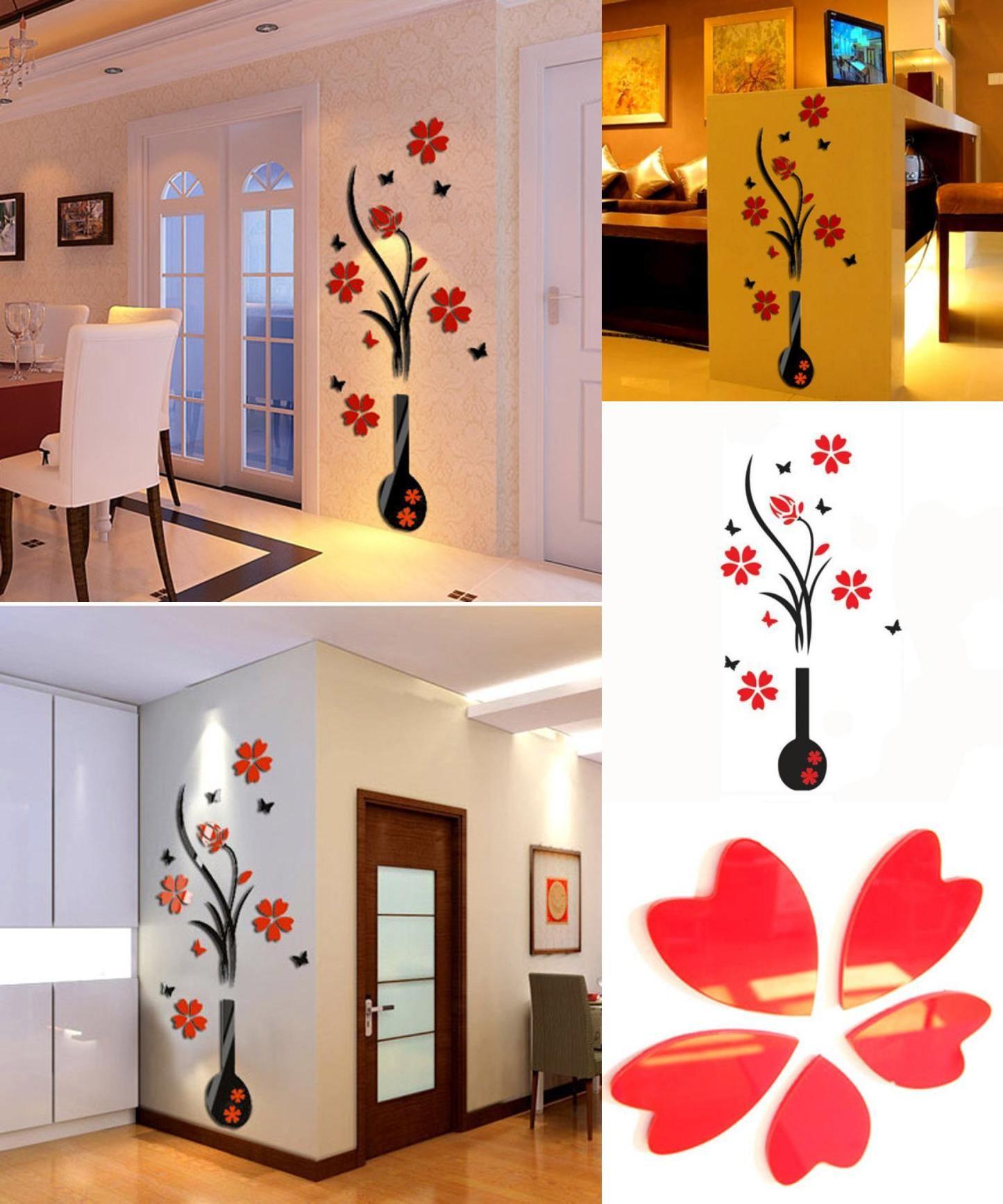 3D Wall Stickers DIY Vase Flower Tree Crystal Acrylic Decal Vase Acrylic Sticker